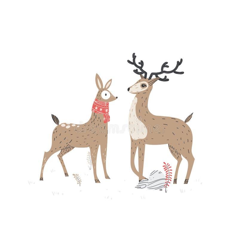 Due bei cervi Illustrazione alla moda di vettore, stile scandinavo illustrazione vettoriale