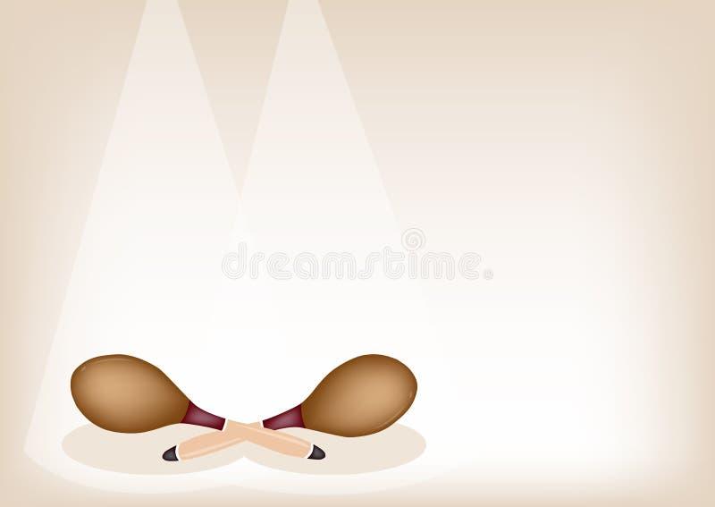 Due bei maracas sul fondo di fase di Brown illustrazione di stock