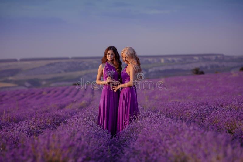 Due belle donne spensierate che godono del tramonto nel giacimento della lavanda armonia Biondo e castana attraenti con stile di  fotografia stock libera da diritti