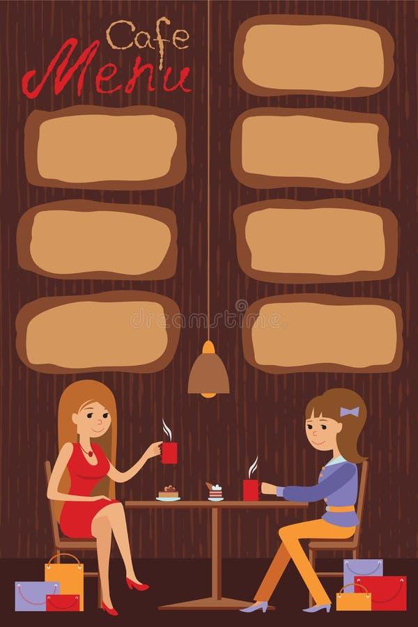 Due belle donne stanno sedendo in un caffè Vector l'illustrazione del menu del modello, dell'opuscolo, del caffè delle alette di  illustrazione di stock
