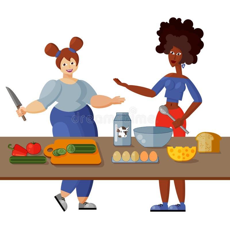 Due belle giovani amiche cucinano insieme la prima colazione sana nella cucina Oggetti isolati su priorit? bassa bianca royalty illustrazione gratis