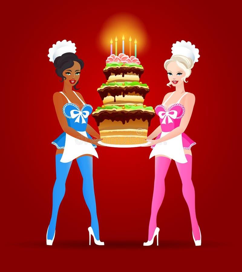 Due belle ragazze con la torta di compleanno illustrazione vettoriale