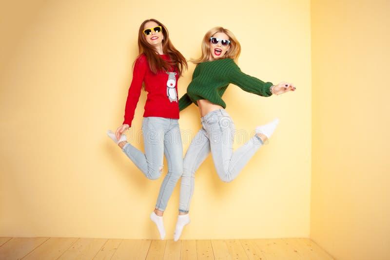 Due belle ragazze divertenti dei pantaloni a vita bassa in maglioni ed occhiali da sole Inverno e modo di concetto fotografia stock
