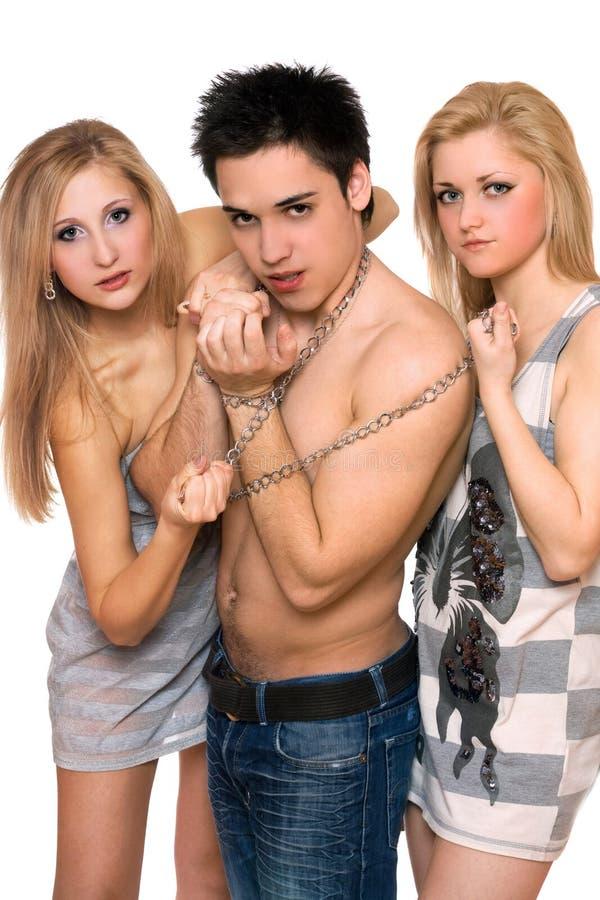 Due belle ragazze e un tirante fotografia stock libera da diritti