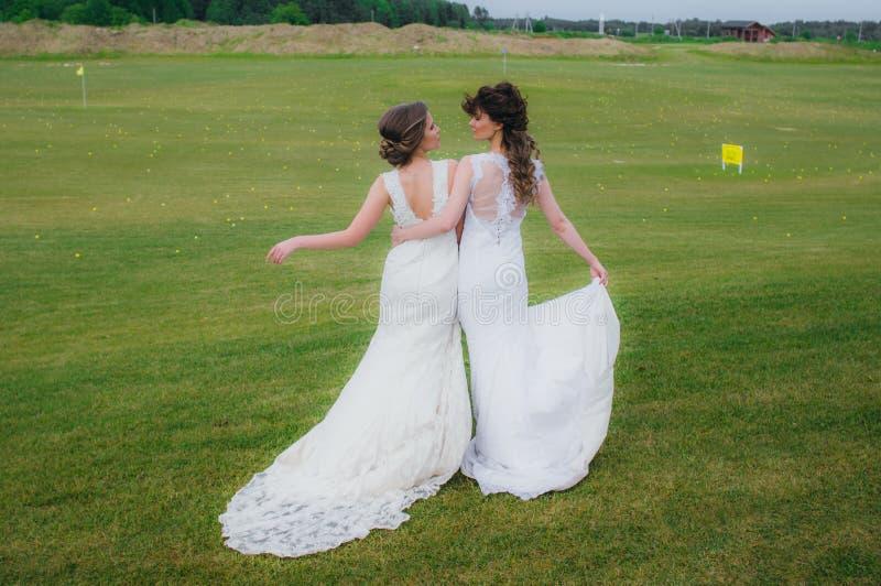 Due belle spose che abbracciano sul campo verde fotografie stock