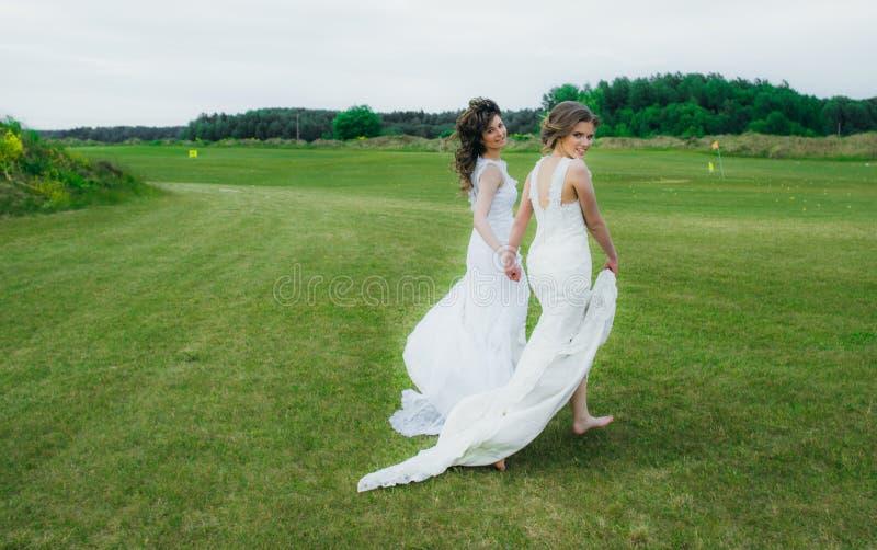 Due belle spose che camminano sul campo verde fotografie stock