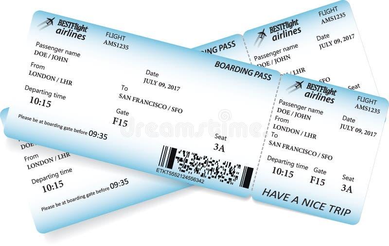 Due biglietti del passaggio di imbarco illustrazione vettoriale