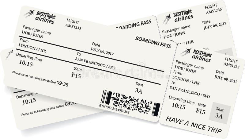 Due biglietti del passaggio di imbarco nei colori grigi royalty illustrazione gratis