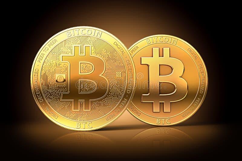 Due bitcoins dorati differenti come spaccatura possibile del cryptocurrency del bitcoin in due valute royalty illustrazione gratis