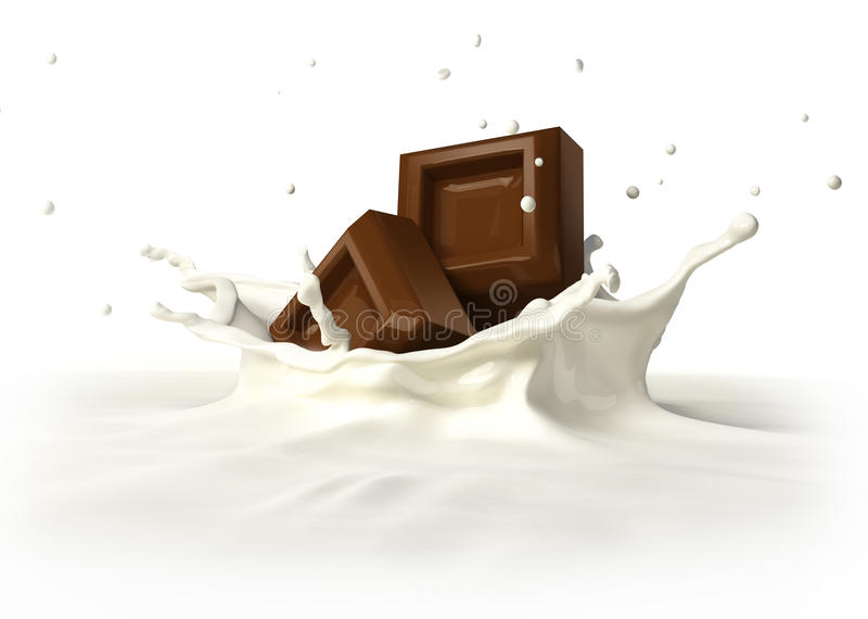 Due blocchetti del cioccolato che cadono nella spruzzatura del latte. illustrazione vettoriale