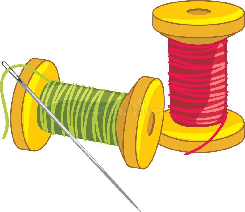Due bobine del filo con l'ago royalty illustrazione gratis