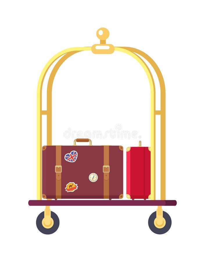 Due borse sull'illustrazione sveglia di vettore del carrello ferroviario illustrazione di stock