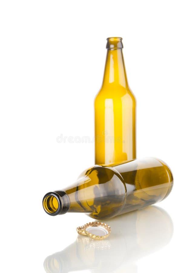 Due bottiglie da birra vuote fotografia stock libera da diritti