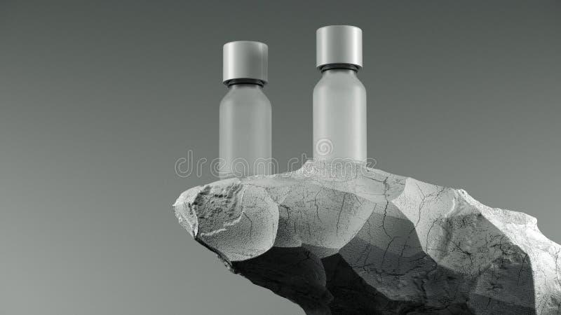 Due bottiglie dell'olio essenziale di massaggio su di pietra - trattamento di bellezza Imballaggio bianco minimo di progettazione royalty illustrazione gratis
