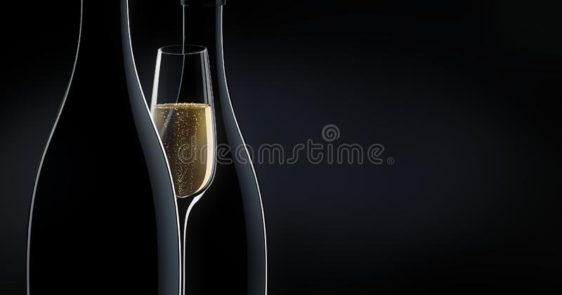 Due bottiglie di champagne con un vetro illustrazione di stock