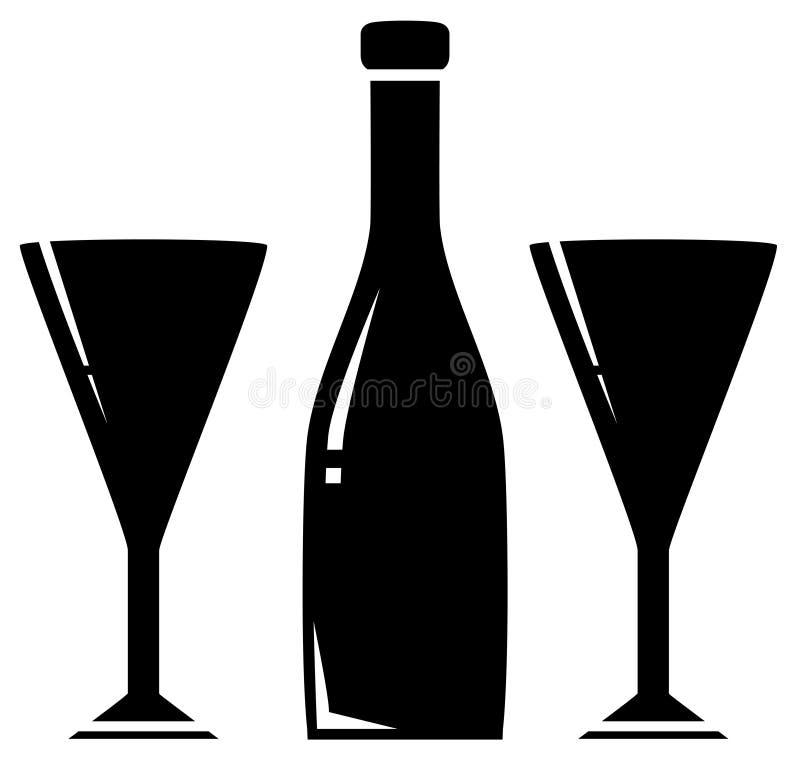 Due bottiglie di vino e di vetro illustrazione di stock