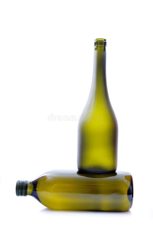 Due bottiglie verdi. fotografie stock