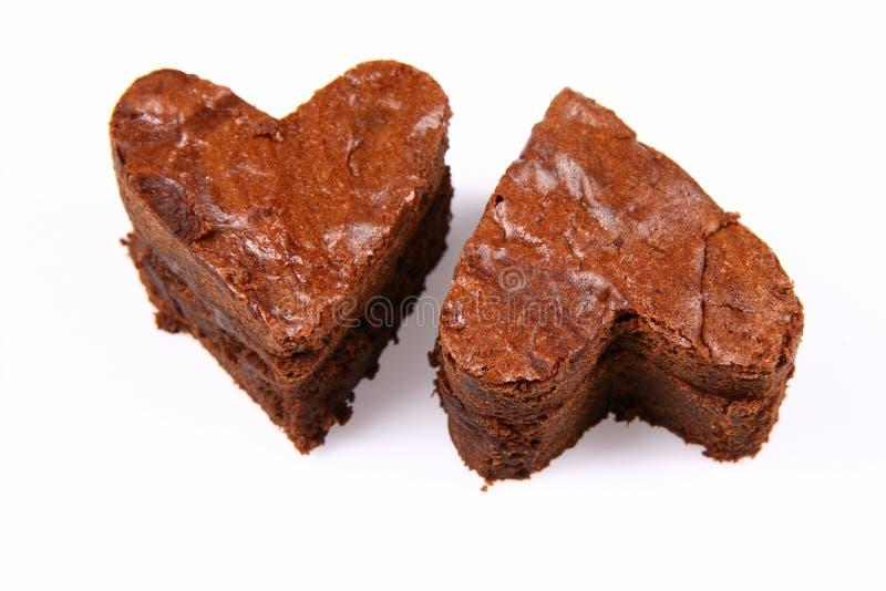 Due brownie a forma di del cuore immagine stock