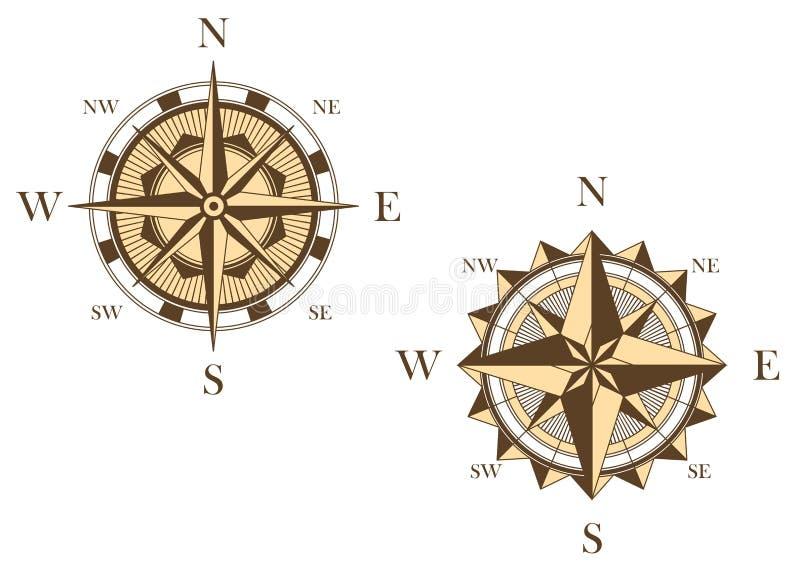 Due bussole d'annata illustrazione di stock
