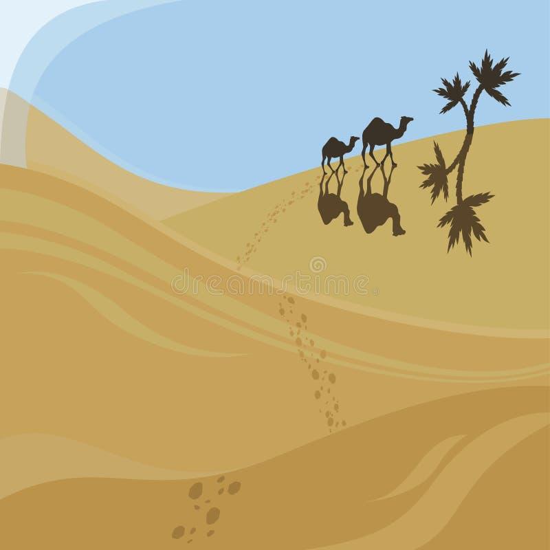 Due cammelli ambulanti illustrazione di stock