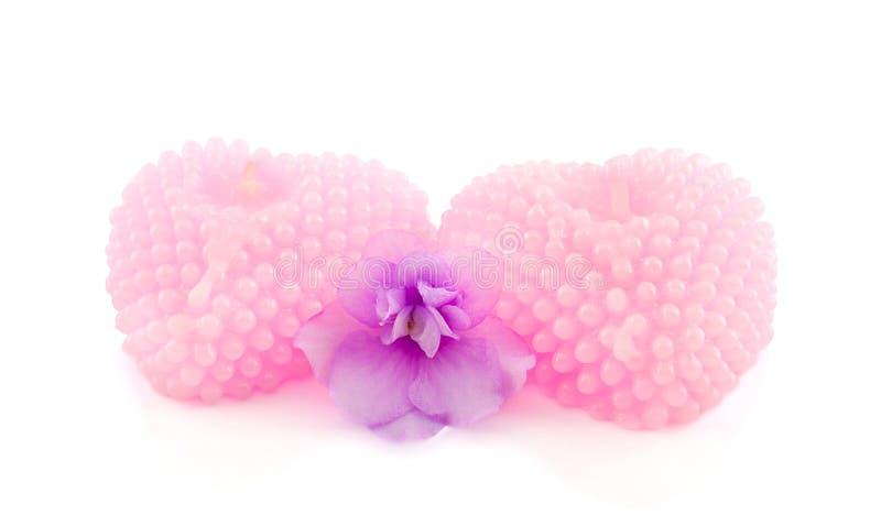 Due candele a forma di del cuore rosa fotografia stock libera da diritti