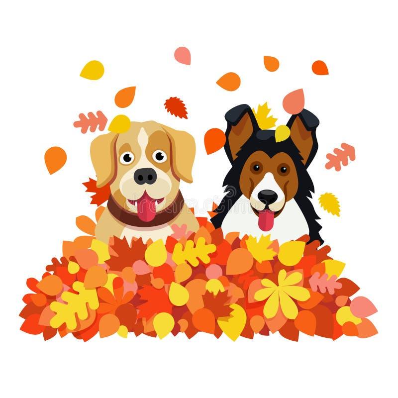 Due cani che giocano in autunno caduto copre di foglie mucchio illustrazione di stock
