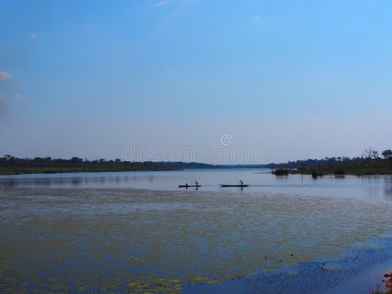 Due canoe o mokoros africani su un lago immagine stock