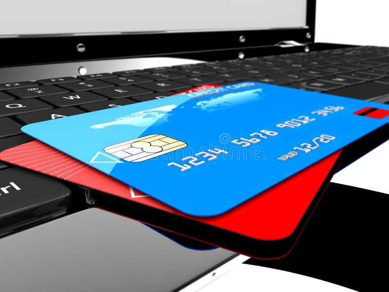 Due carte di credito sul computer portatile illustrazione vettoriale