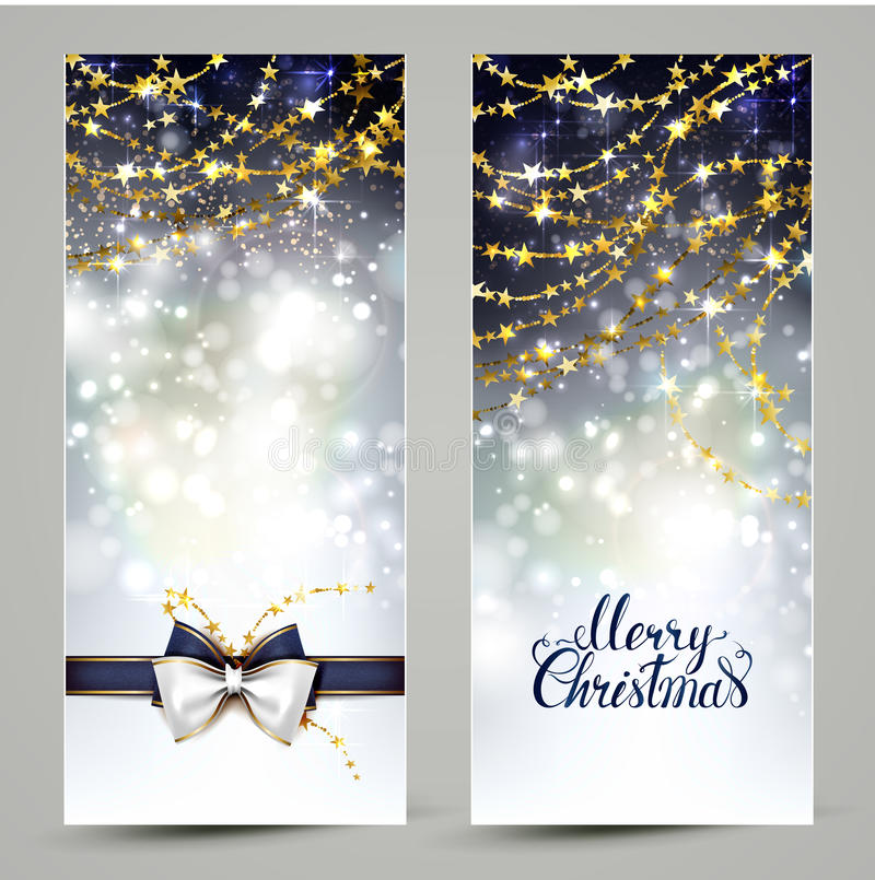 Due cartoline d'auguri di Natale con l'arco e le ghirlande illustrazione di stock