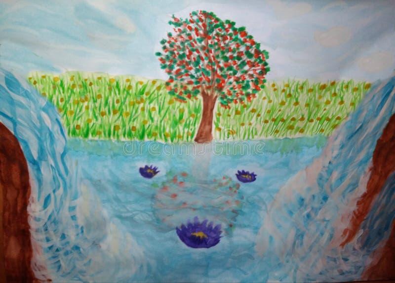 Due cascate e fiori di Lotus illustrazione vettoriale