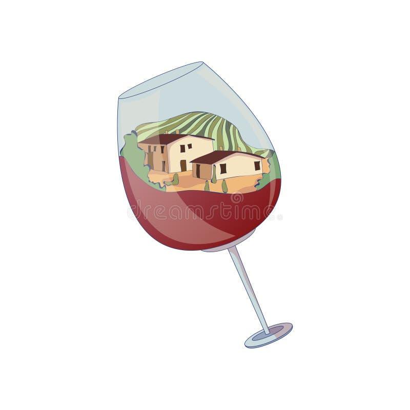 Due case e un campo dentro un bicchiere di vino Illustrazione di vettore su priorit? bassa bianca royalty illustrazione gratis
