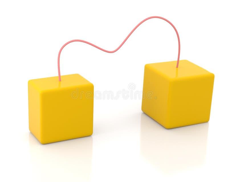 Due caselle connesse illustrazione di stock