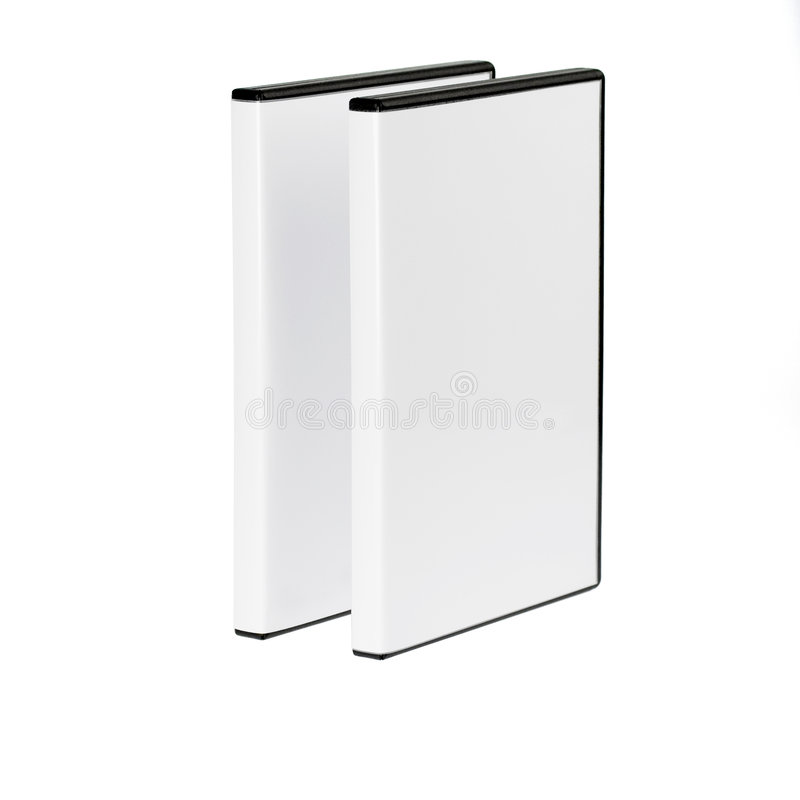 Due caselle di DVD separate su bianco immagini stock libere da diritti