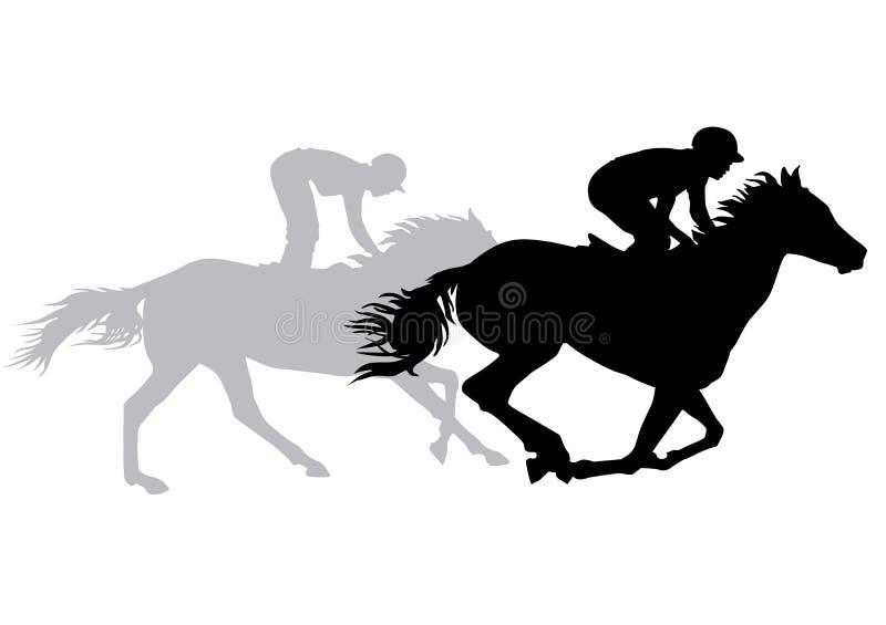 Due cavalli da equitazione delle pulegge tendirici illustrazione di stock