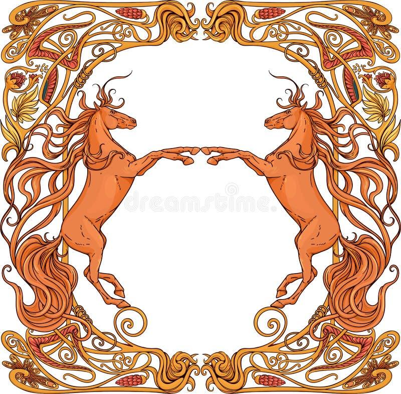 Due cavalli di fantasia nel telaio floreale illustrazione vettoriale