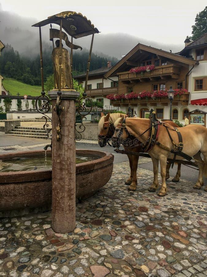 Due cavalli su una fontana nel andare, Austria immagini stock