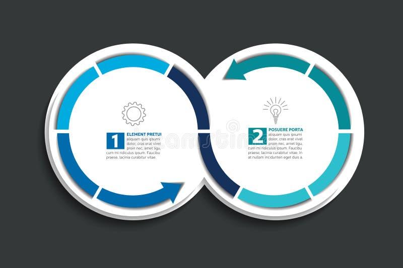 Due cerchi collegati della freccia Elemento di Infographic illustrazione di stock