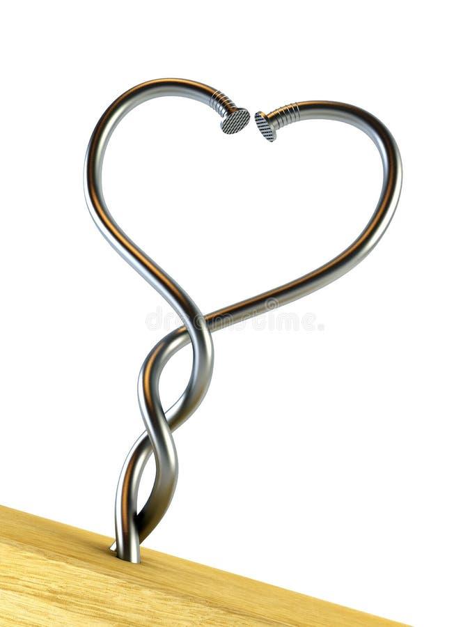Due chiodi torti heart-shaped illustrazione vettoriale
