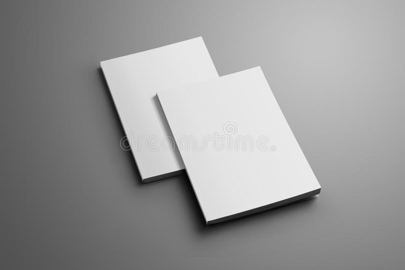 Due A4 chiusi in bianco, gli opuscoli A5 con le ombre molli hanno isolato la o illustrazione di stock