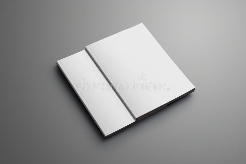 Due A4 chiusi in bianco, le riviste A5 con le ombre molli hanno isolato la o illustrazione vettoriale