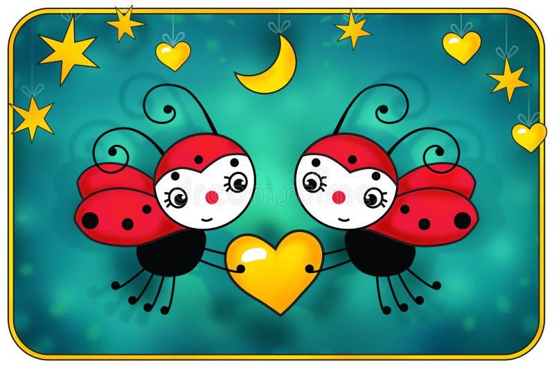 Due coccinelle rosse con cuore giallo - compleanno illustrazione di stock