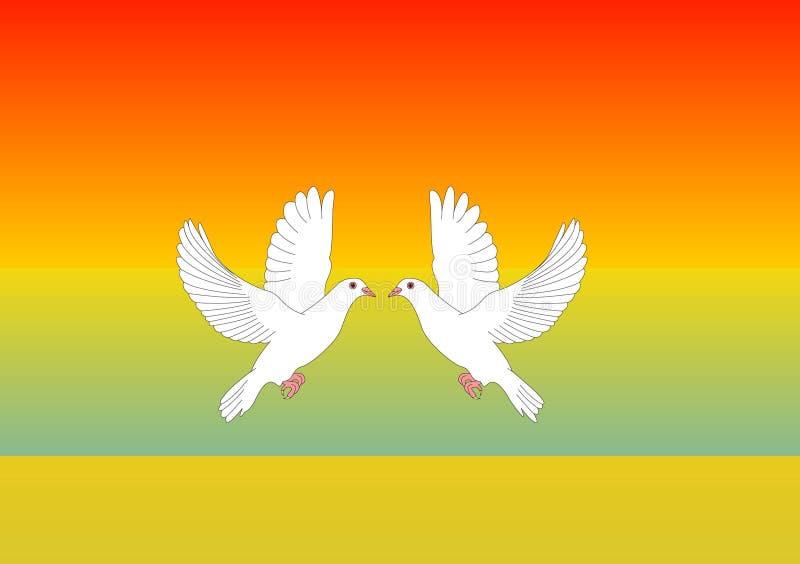 Due colombe bianche nell'illustrazione di vettore di amore illustrazione di stock