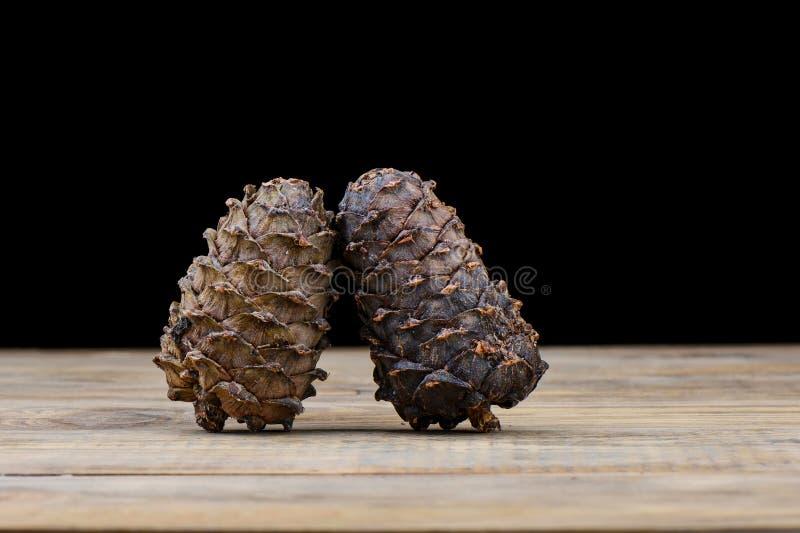 Due coni del cedro su una tavola di legno Resina del cedro su un urto fotografia stock libera da diritti