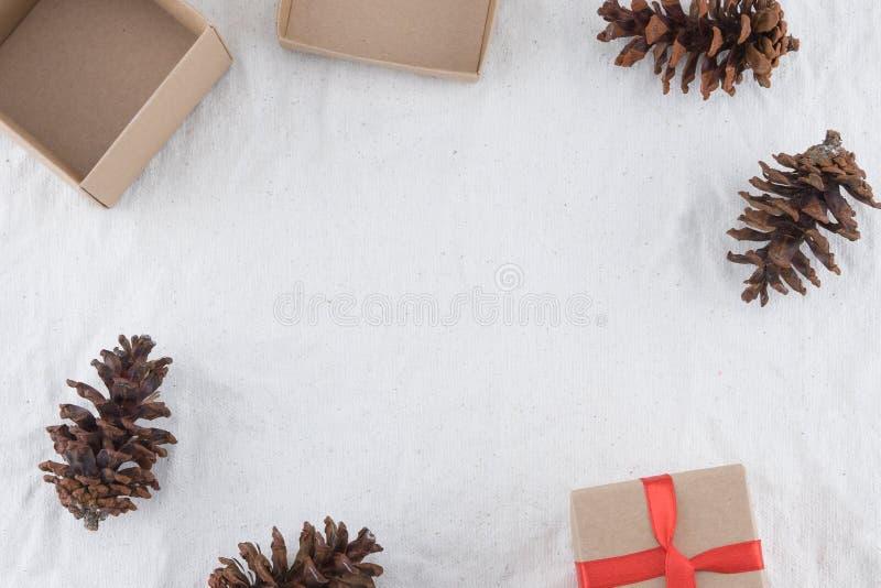 Due contenitori di regalo di Brown decorati con i pinecones immagini stock libere da diritti