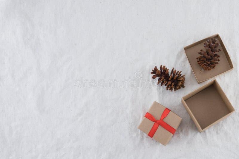 Due contenitori di regalo di Brown decorati con il pinecone immagini stock