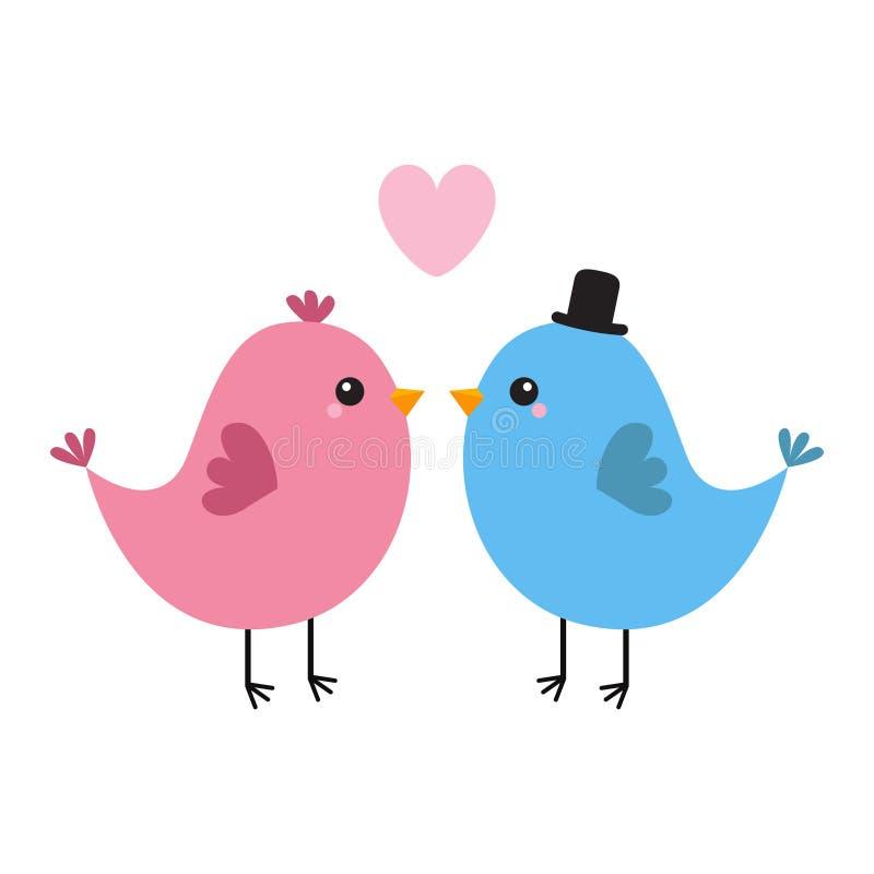 Due coppie dell'uccello Cuore rosa Giorno felice dei biglietti di S Cartolina d'auguri di amore Ragazzo, ragazza Cappello nero Ca royalty illustrazione gratis
