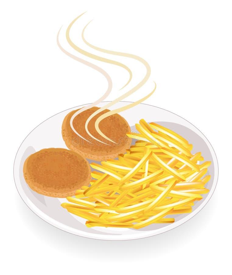 Due cotolette su un piatto Guarnisca le patate fritte calde Le verdure per un piatto sono strisce incise Alimento veloce, saporit royalty illustrazione gratis