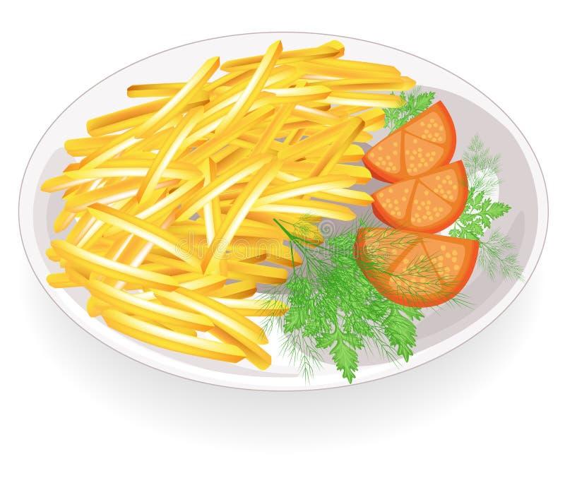 Due cotolette su un piatto Guarnisca le strisce fritte calde delle patate Pomodori e verdi vicino Alimento veloce, saporito e nut royalty illustrazione gratis