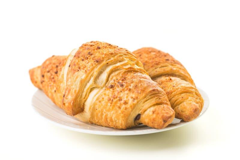 Due croissants su bianco fotografia stock