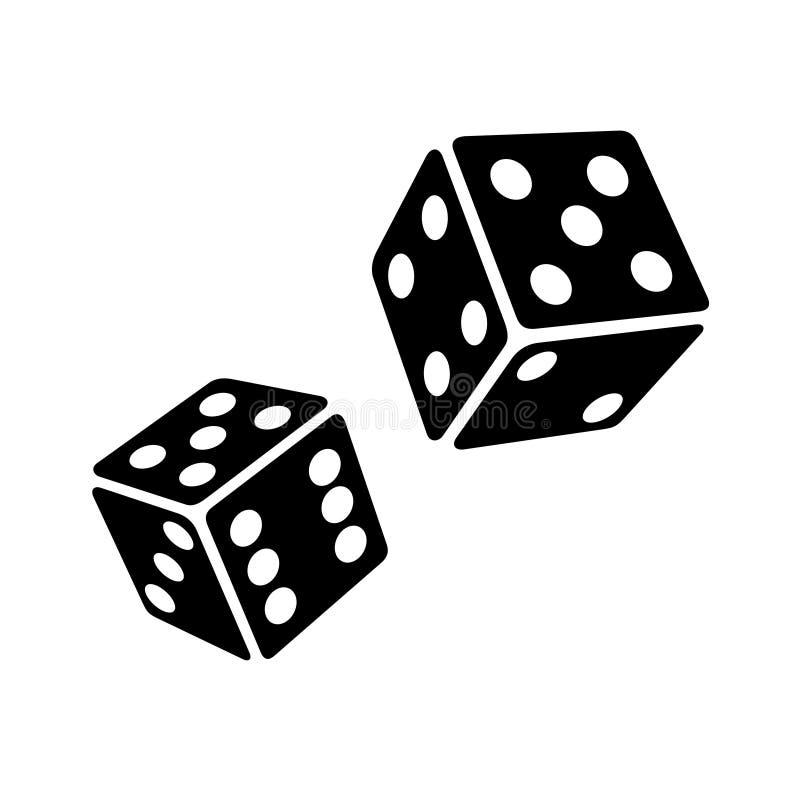 Due cubi neri dei dadi su cenni storici bianchi Vettore royalty illustrazione gratis